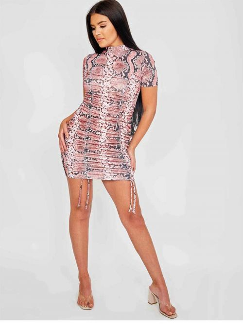 Ashley Snake Print Ribbed Ruched Dress In Rust