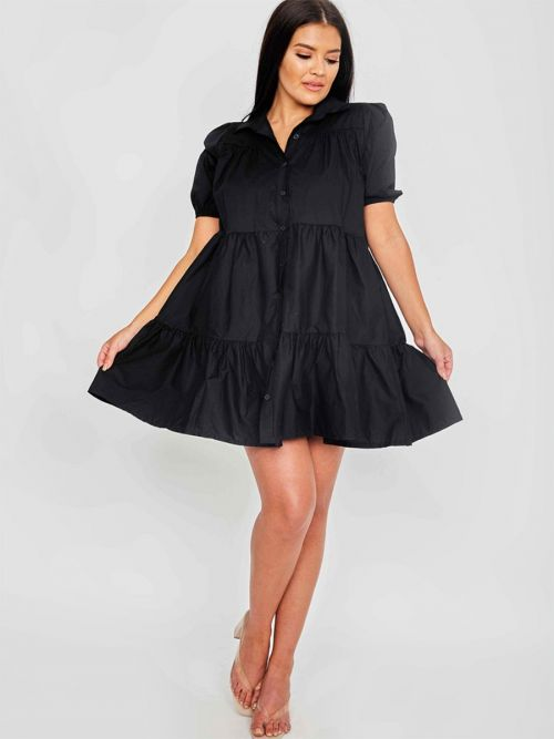 Mia Button-Front Tiered Smock Dress In Black