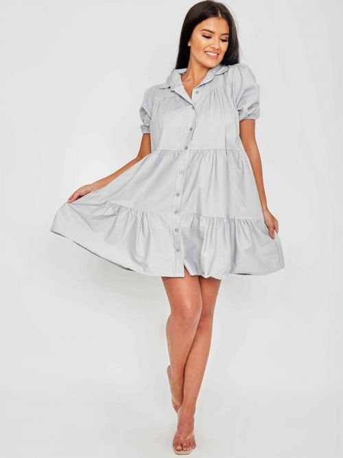 Mia Button-Front Tiered Smock Dress In Grey