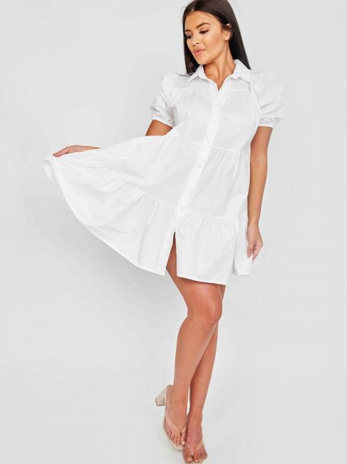 Mia Button-Front Tiered Smock Dress In White