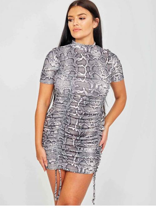 Ashley Snake Print Ribbed Ruched Dress In Grey