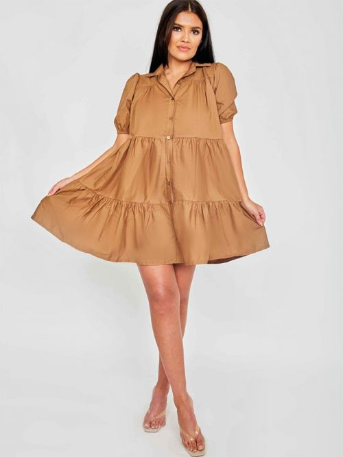 Mia Button-Front Tiered Smock Dress In Mocha