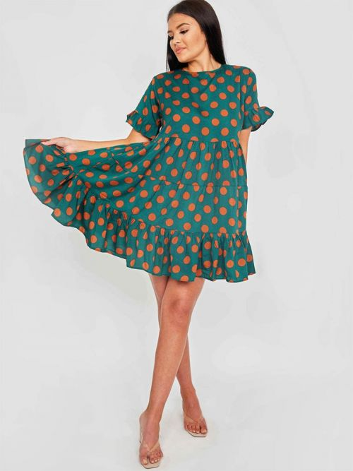 Polena Circle Print Frill Tiered Smock Dress In Green