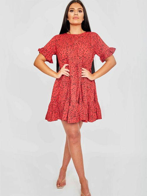 Cherina Spot Print Frill Tiered Smock Dress In Red