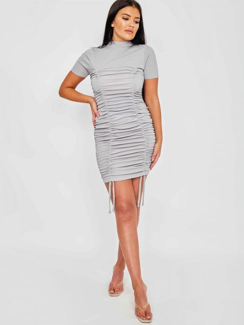 Aimie High Neck Ribbed Ruched Dress In Grey