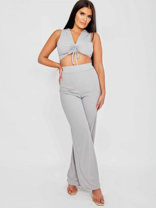 Katrina Sleeveless Ruched Crop Top & Trouser Ribbed Co-ord In Grey