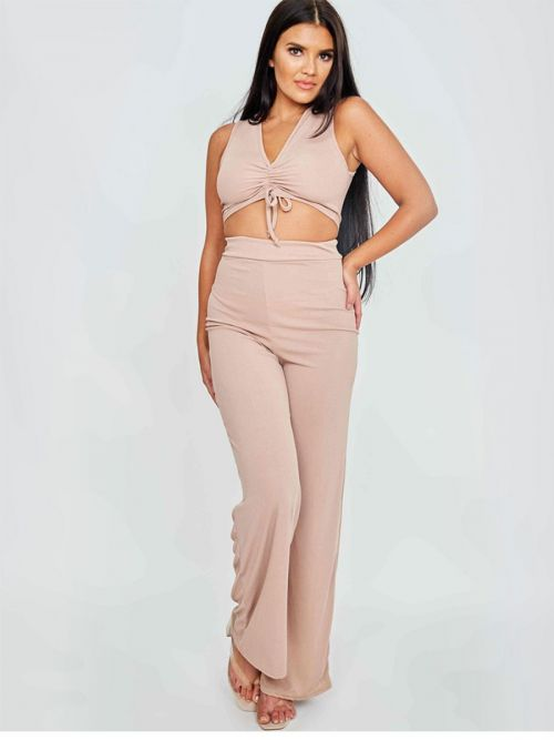 Katrina Sleeveless Ruched Crop Top & Trouser Ribbed Co-ord In Mocha