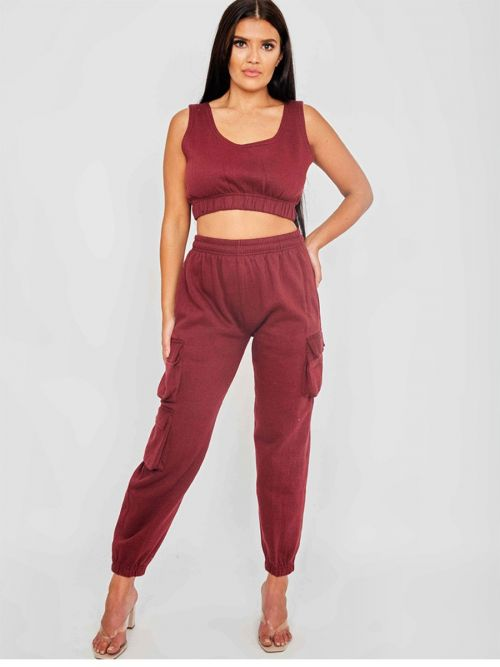 Nabeel Fleeced Crop Top & Cargo Jogger Co-ord In Wine