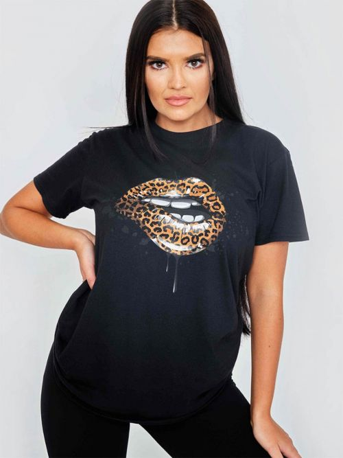 Keana Leopard Lip Graphic Printed T-Shirt In Black