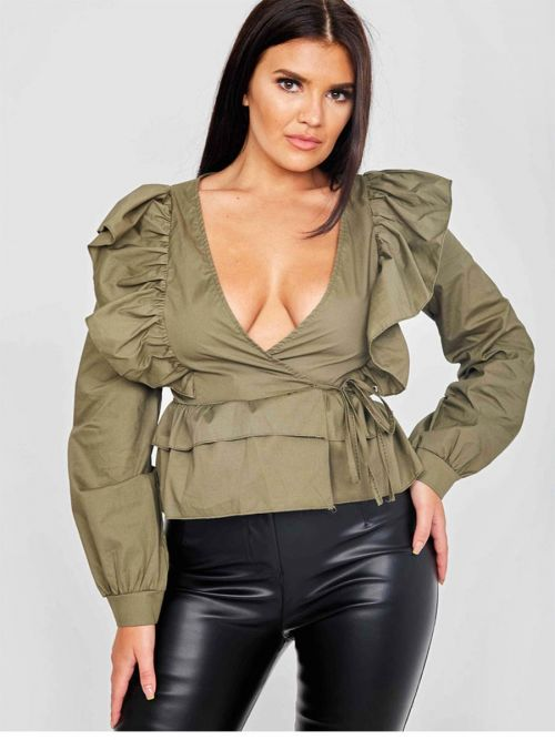 Caroline Wrap Front Ti Knot Frill Top In Khaki