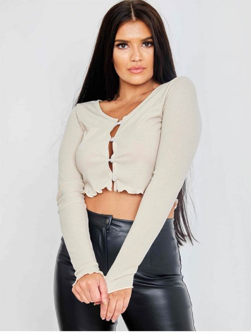 Maya Ribbed Cropped Button Cardigan In Stone