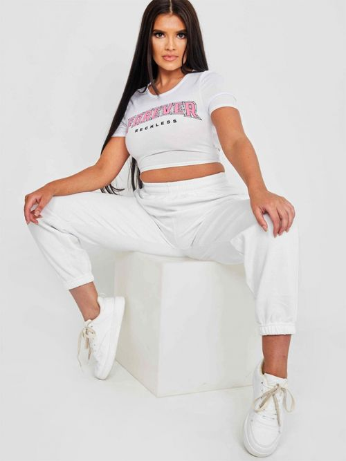 Teah Tie Back Forever Print Rib Crop Top In White