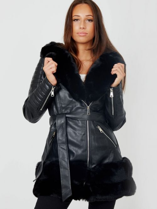 Francesca Longline Faux Fur Hooded Belted PU Coat In Black