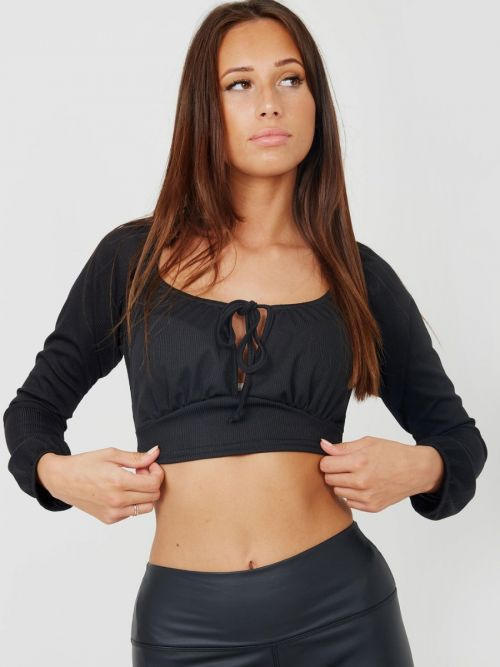 Lindsay Tie Knot Keyhole Front Ribbed Crop Top In Black