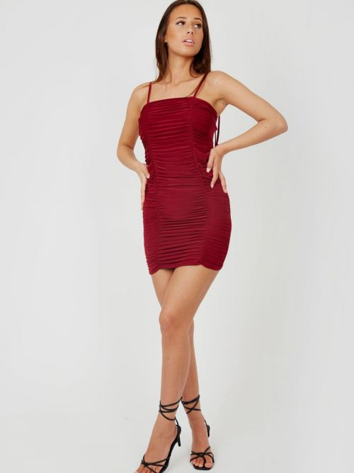 Kelly Tie Knot Strap Ruched Dress In Wine
