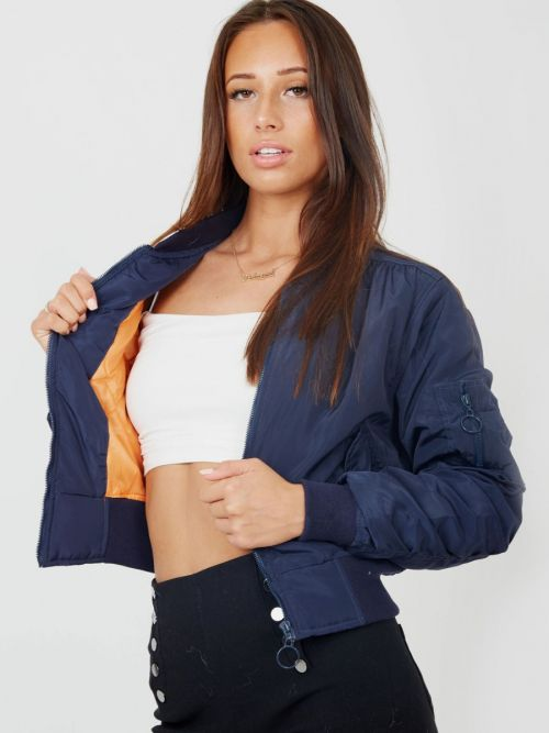 Meg Pull-Ring Zip-Up Bomber Jacket In Navy