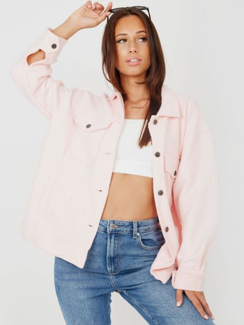 Leah Plain Classic Thick Shacket In Pink