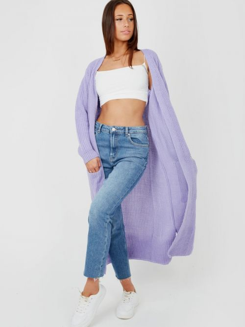 Leeka Longline Knitted Open Cardigan In Lilac