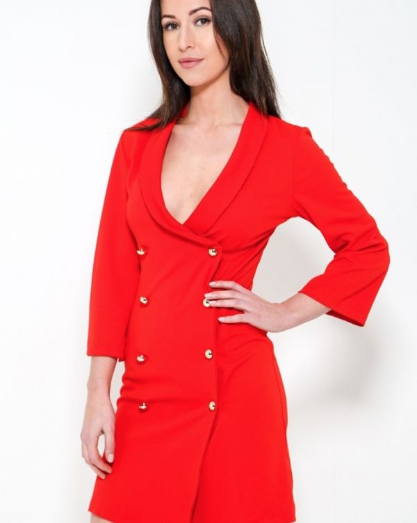 Cora Tuxedo Blazer Dress In Red