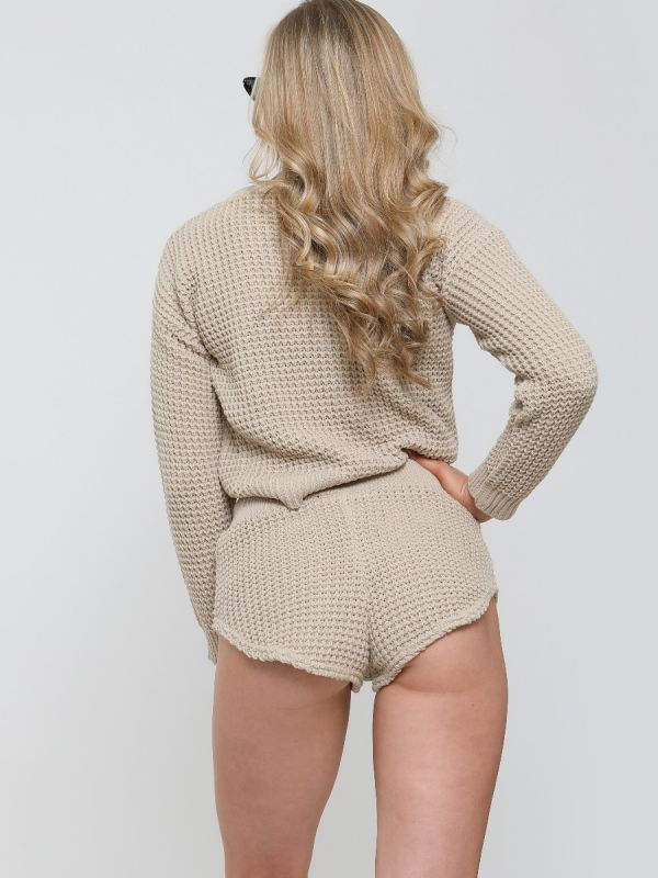 Rosa Waffle Knit Jumper & Shorts Lounge Co-ord In Stone