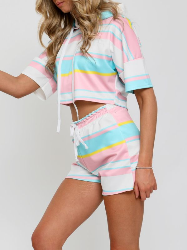 Court Striped Hoodie Crop Top & Shorts Co-ord In Pink