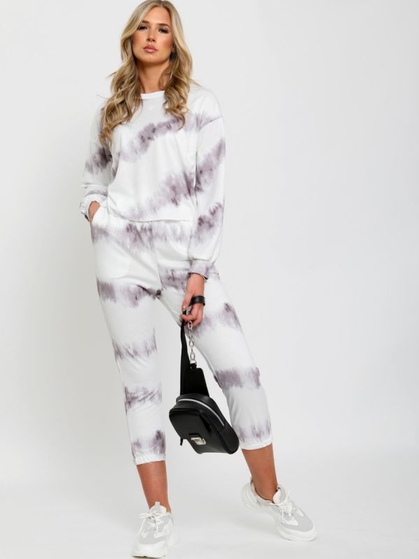 Mariam Tie Dye Top & Jogger Co-ord In Grey