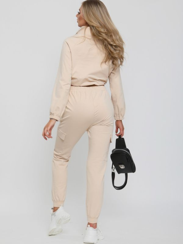 Laura Cropped Cargo Loungewear Co-ord In Stone