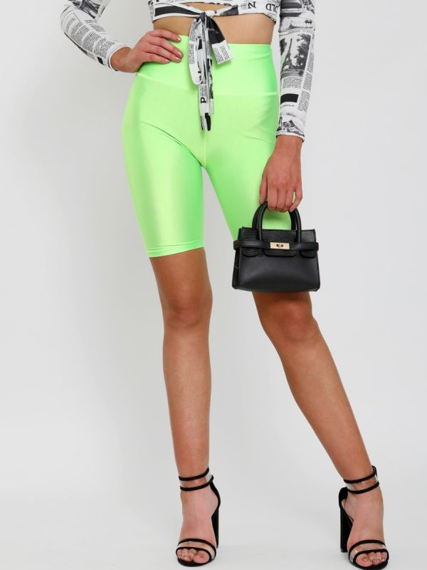 Frankie Satin Cycling Shorts In Neon Green
