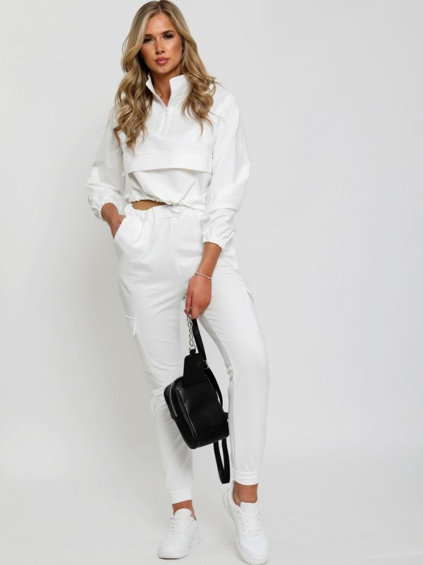 Laura Cropped Cargo Loungewear Co-ord In Cream