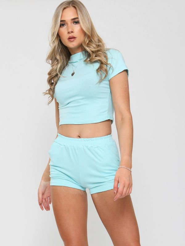 Dean High Neck Crop Top & Shorts Co-ord In Mint
