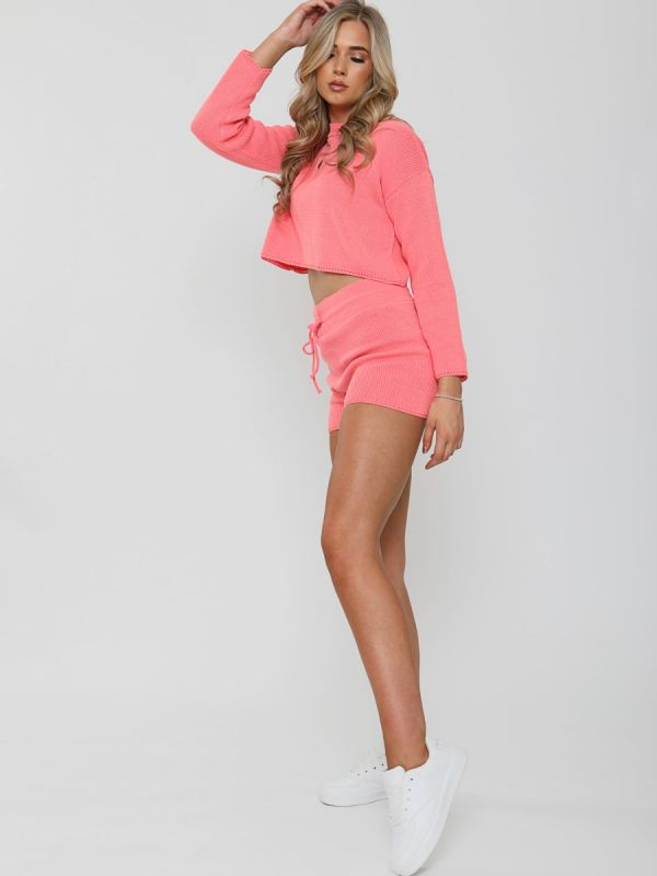 Jayne Knitted Crop Top & Shorts Lounge Set In Coral