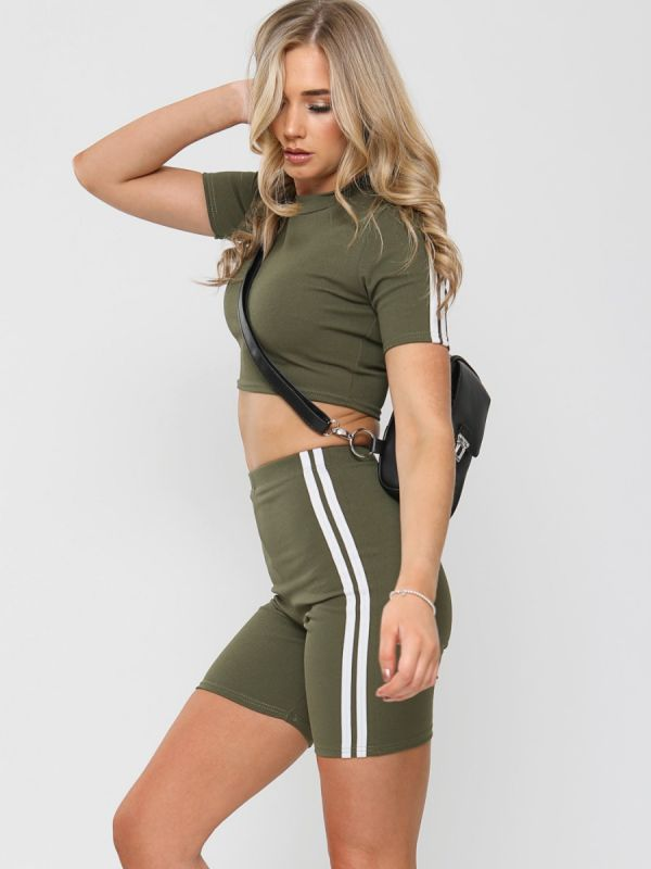 Ally Side Stripe Crop Top & Shorts Co-ord In Khaki