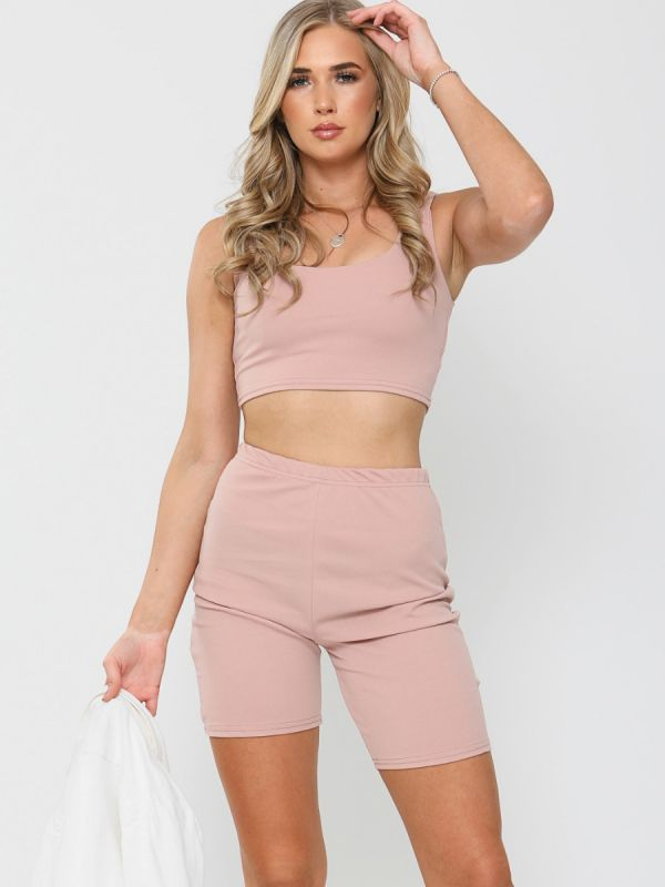 Liza Crop Top & Cycling Shorts Co-ord In Rose