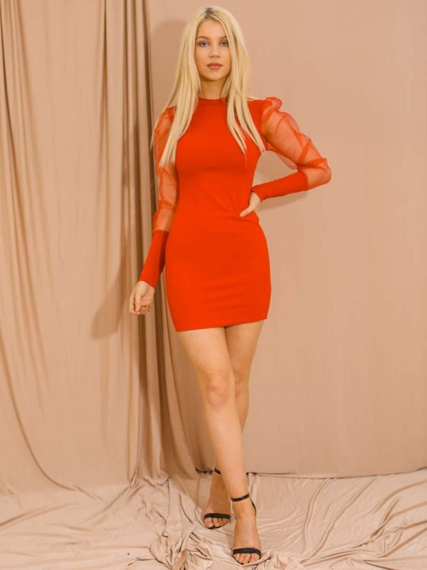 Alia Fishnet Sleeve Bodycon Dress In Red