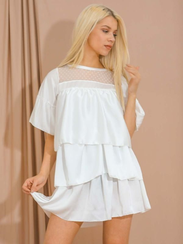 Mikayla Mesh Insert Satin Frill Layered Tiered Dress In White
