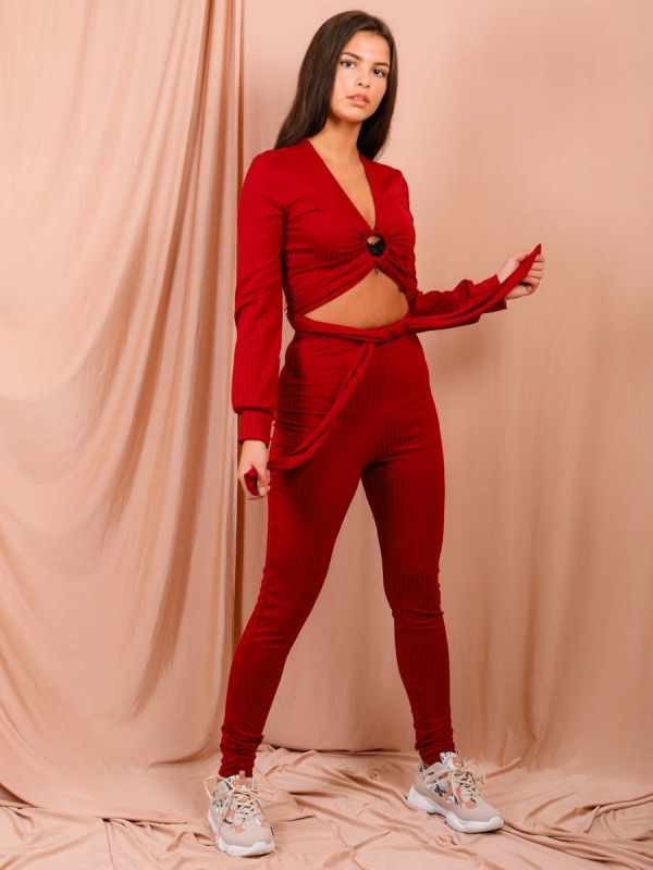 Kira Keyhole Wrap Around Top Ribbed Co-ord In Wine