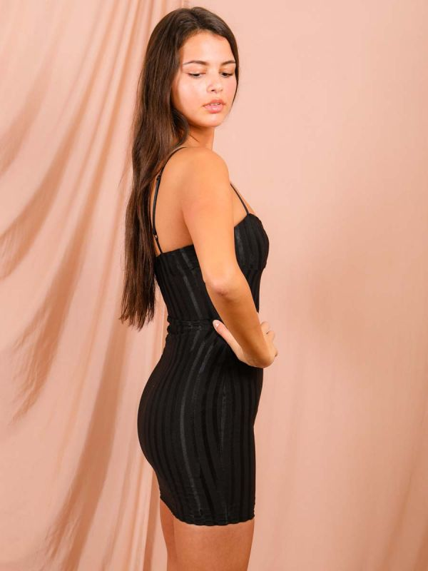 Celeste Satin Ribbed Cami Dress In Black