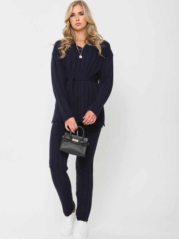 Sammie Ribbed Knitted Belted Loungewear Set In Navy