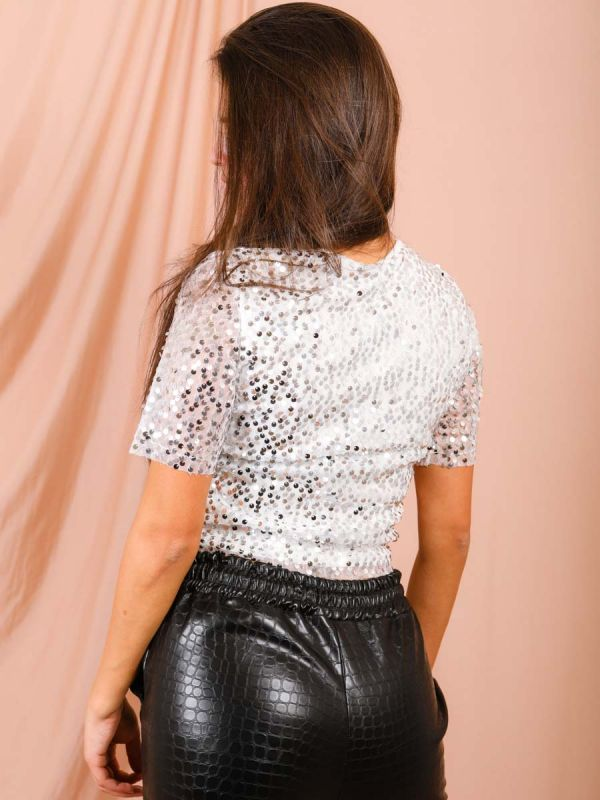 Christina Sequinned Mesh Top In White