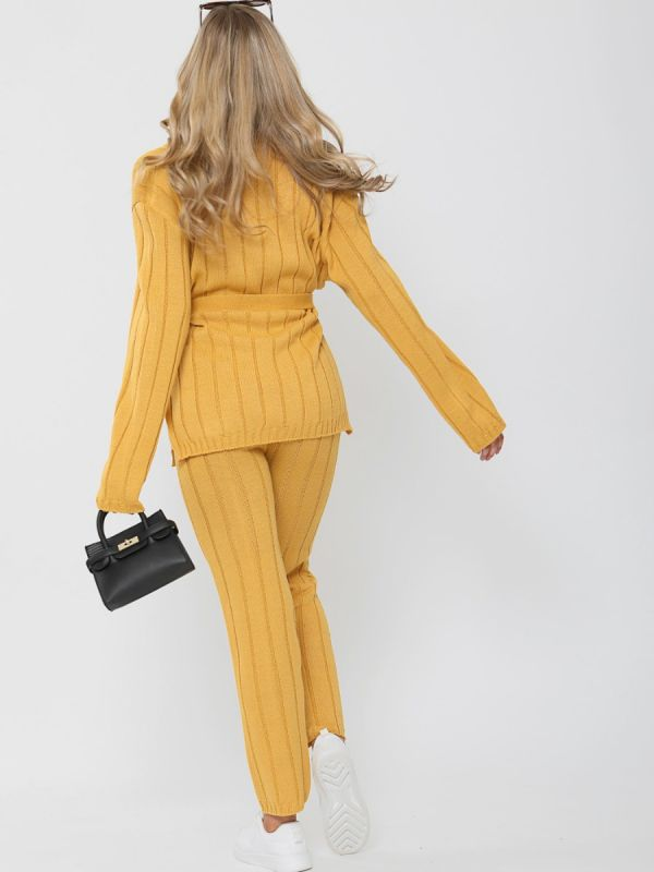 Sammie Ribbed Knitted Belted Loungewear Set In Mustard