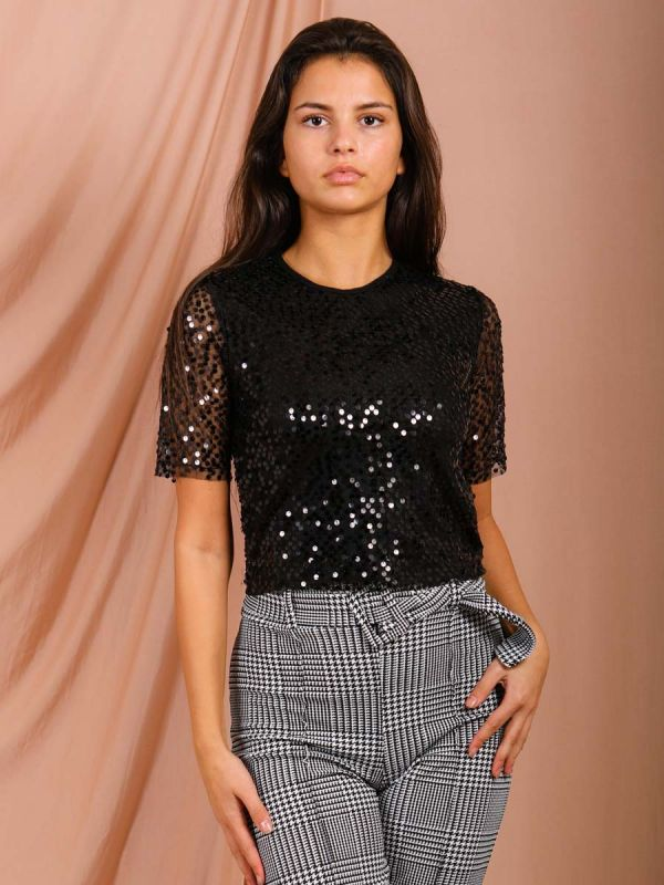 Christina Sequinned Mesh Top In Black