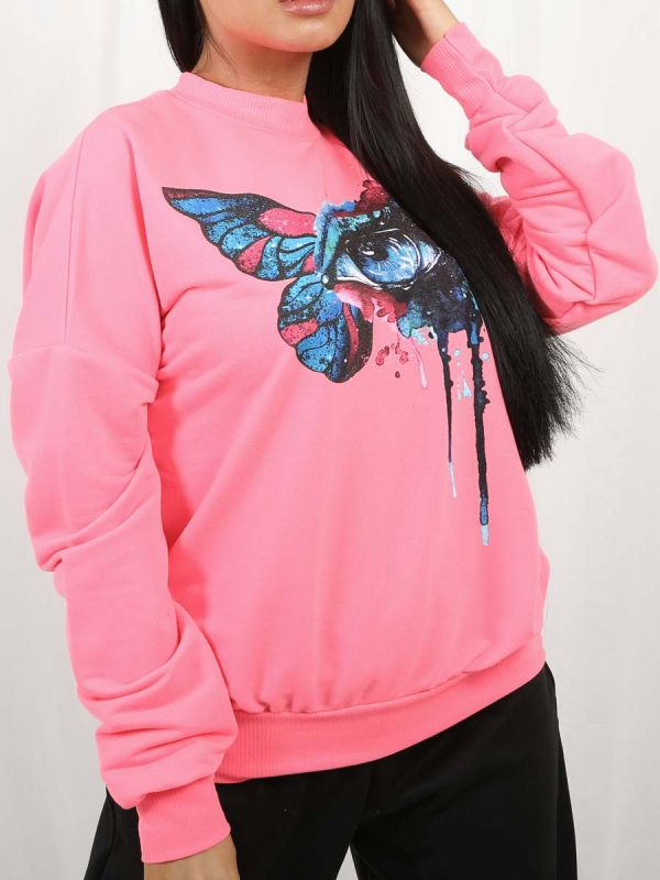Bettina Butterfly Eye Graphic Sweatshirt Jumper In Neon Pink