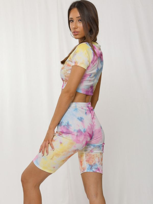 Denise Tie-Dye Ribbed Crop Top & Shorts Co-ord In Multi