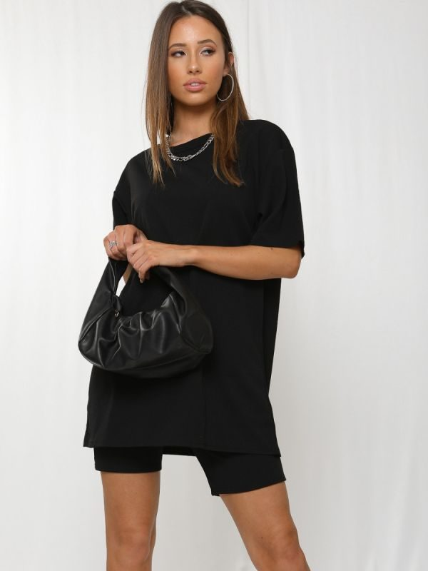 Donika Oversized T-Shirt & Shorts Co-ord In Black