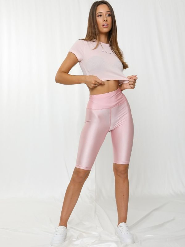 Frankie Satin Cycling Shorts In Dusty Pink