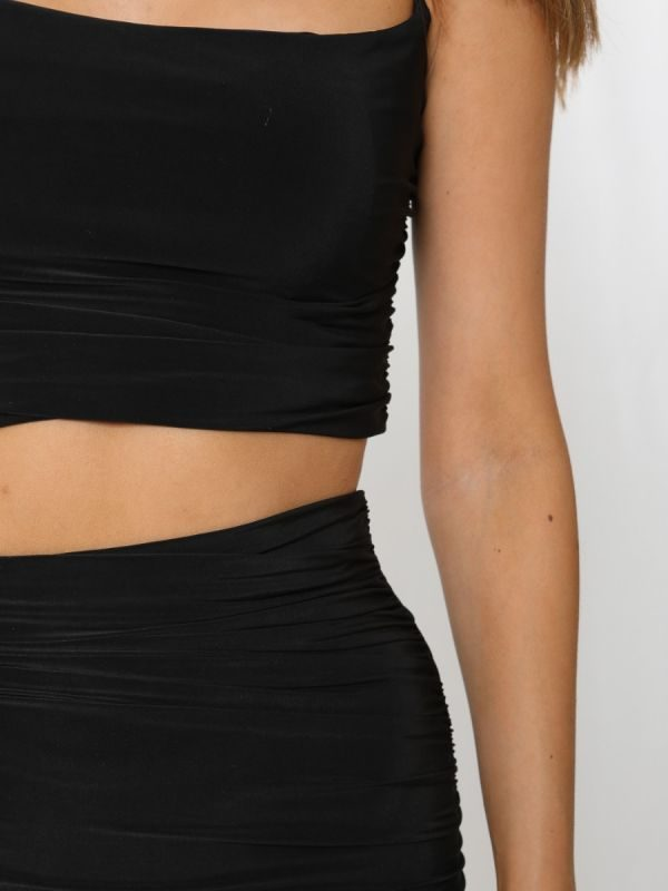 Meagan Slinky Ruched Crop Top & Skirt Co-ord In Black