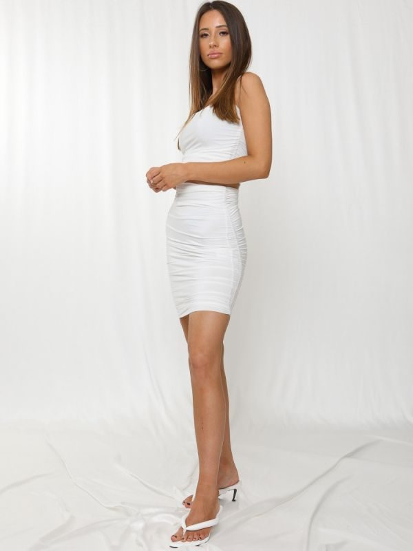 Meagan Slinky Ruched Crop Top & Skirt Co-ord In Cream