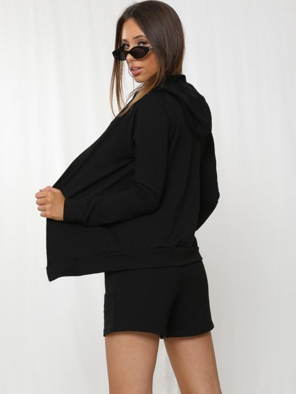Kasey 3 Piece Hooded Co-ord Set In Black