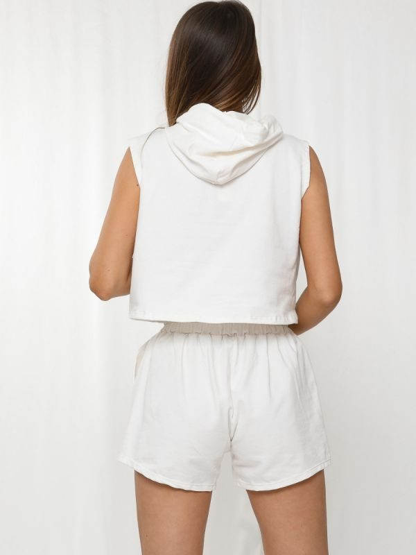 Rosie Boxy Hooded Crop Top & Shorts Loungewear Co-ord In Cream