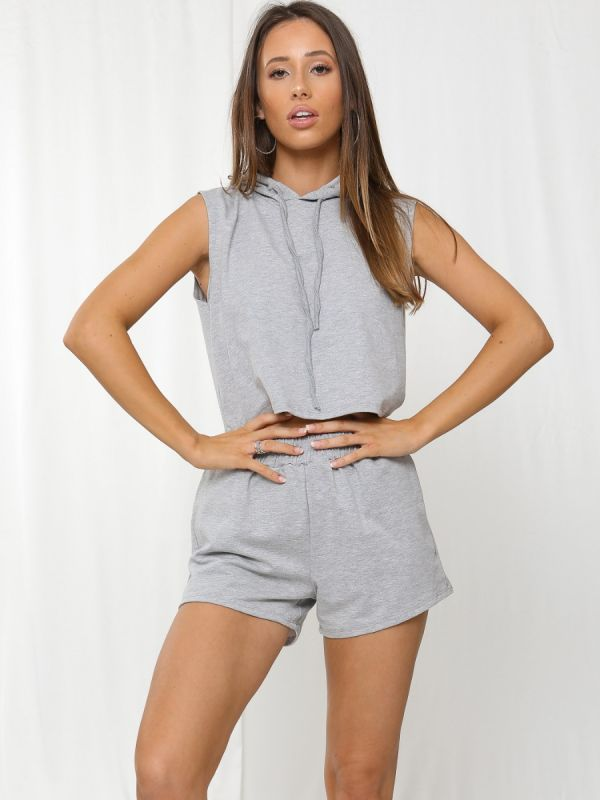 Rosie Boxy Hooded Crop Top & Shorts Loungewear Co-ord In Grey